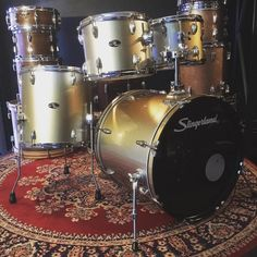 $300 .. this preloved Slingerland 12/13/16/22 shell set comes with stick saver hoops tom holder & floor tom legs intermediate level kit with basswood shells sounds great  the silver finish has discoloured  to a silver & gold. This would be a fantastic upgrade with quality fittings to replace your starter kit .. call/text me on 0497992002  Johnny