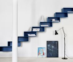 Minimalist Colorful Storage Furniture For Home And Office - DigsDigs Interior Stairs, Interior Architecture, Interior Design, Cat Shelves, Display Shelves, Step Shelves, Blue Shelves, Unique Shelves, Wood Shelves