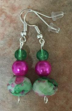 Aretes de cristal y perlas (rosa y verde)