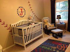 Boy Chevron sports Nursery | Sports nursery love the baseball wall @claptonsrose