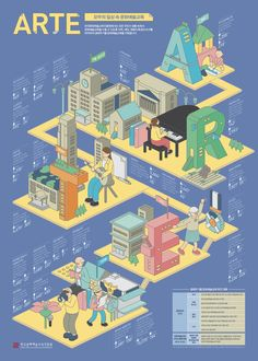 203 X Korea Culture and Arts Education Agency on Behance Graphic Design Posters, Graphic Design Illustration, Illustration Art, Education Architecture, Architecture Art, Information Design, Information Graphics, Bts Design Graphique, Wallpaper Collage