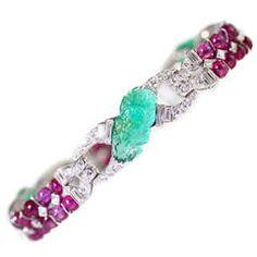 Art Deco Burma Ruby Carved Emerald Diamond Platinum Bracelet