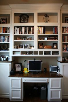 bookshelves with built-in desk . . .something similar would be nice for the living room