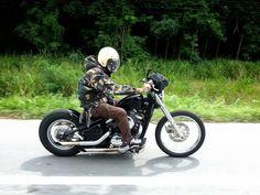 Kawasaki vulcan custom & rider with sportster gas