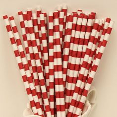 SAILOR STRIPED RUBY Red Paper Straws, 25 Sailor Striped Straws, Party Straws, Fourth of July, Flag, Carnival, Americana, Birthday, Wedding