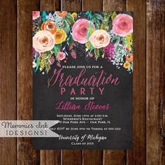 graduation party invitation watercolor flowers invitation floral invitation chalkboard invitation diy class of 2016 open house invite - Graduation Invitations Pinterest
