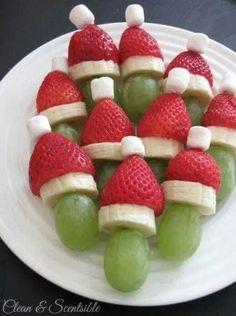 Druif - bananenschijfje - aardbei kerstmannetje