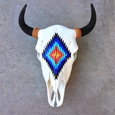 Hand Painted Female Bison Skull from Montana with Leather Horn Wraps Cow Skull Decor, Cow Skull Art, Skull Wall Art, Buffalo Animal, Buffalo Skull, Bull Skulls, Deer Skulls, Skull Painting, Sketch Painting