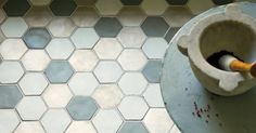 Honeycomb floor tiles in blues and greys