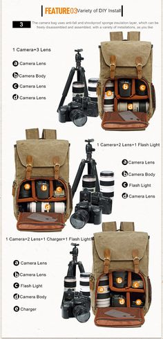 New Multi-functional Large-capacity SLR Camera Backpack Shock-proof Leisure Travel Bag Outdoor Camera Backpack With Laptop Tripod Lens And Accessory Backpack //27 X 20 X 45 Cm Orange Well-made