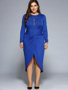 Casual Ruched Knotted Slit Dress