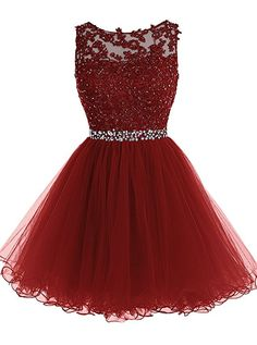 Tideclothes Short Beaded Prom Dress Tulle Applique Evening Dress Burgundy US6