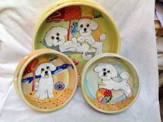 Set of 3 Hand Painted Bichon Ceramic Dog Bowls signed by Debby Carman Faux Paw Productions by FauxPawProductions on Etsy