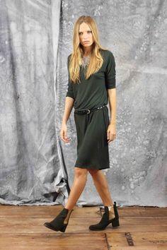 Vestido de manga larga, green dress, new colection, System Action, clothes, ropa, tienda online, online shop