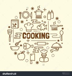 cooking minimal thin line icons set, vector illustration design elements
