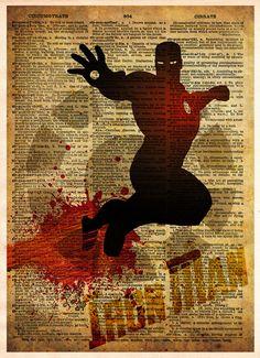 Iron Man art, Avengers, Vintage pop art print, Retro Super Hero Art, Dictionary print art
