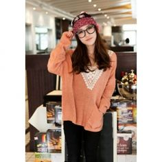 Loose Fitting Lace V-Neck  Dolman Sleeve Sweater
