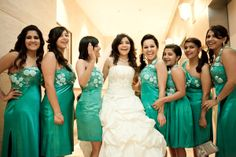 Go green! The sea-green colour swarming around the pure white clad bride, especially on #bridesmaids looks elegant, with a touch of spring! #ShaadiMAgazine #IndianBridesmaids  Photography by : Rajesh Pandey
