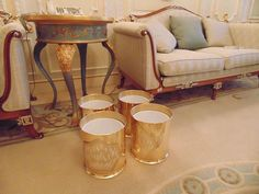 Lot 291 - 4 x 24ct. gold plated waste paper bins