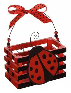 Amazon.com: Adorable Ladybug With Hearts Wood Crate For Home Decor, Party Favor Or Decoration: Kitchen & Dining