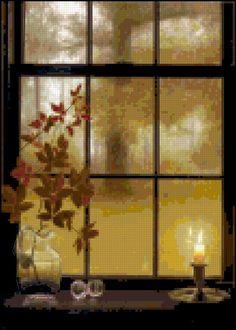 Counted Cross Stitch Pattern - Autumn Window (pattern on Etsy crossstitchnerd)