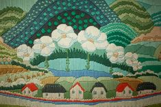 In the happy valley. vintage crewel embroidery. needlework. fairytale landscape. nursery art.