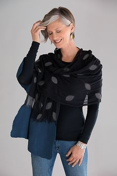 An exquisite accessory full of rich textural detail. Cari Wrap by Elizabeth Rubidge: Felted Wool & Chiffon Wrap available at www.artfulhome.com