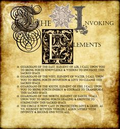 Invoking the Elements Page I made for my Book of Shadows. Please share & use for your own BOS!