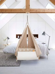 "A bassinet, bassinette, or cradle is a bed specifically for babies from birth to about four months, and small enough to provide a ""cocoon"" that small babies find comforting. Hanging Bassinet, Hanging Cradle, Hanging Crib, Baby Bassinet, Baby Cribs, Baby Life Hacks, Comfort Mattress, One Bed, Baby Swings"