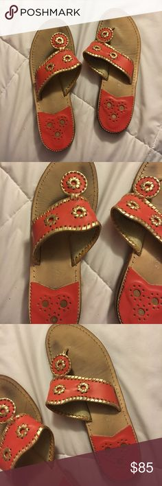 Jack rogers 9m These jack rogers are one in a kind. Orange with gold. They have some wear to them but they last awhile so lots of wear left. ** MAKE ME AN OFFER THE PRICE IS NOT SET *** no trades Jack Rogers Shoes Flats & Loafers