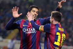 The La Liga side's two goal scorers celebrate together during their comfortable win again...