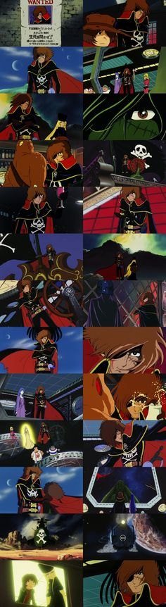 A compilation of images of Captain Harlock in his guest-star role in the first and second Galaxy Express 999 movies.