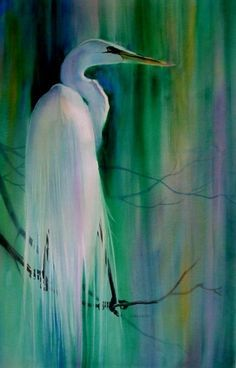 paintings of heron, egret or cranes - Google Search