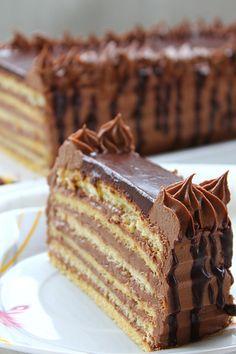 Very similar Dobos Torte OR easier to do ~ Recipes for quick and easy meals Dobos Torte Recipe, Rodjendanske Torte, Torte Recepti, Kolaci I Torte, Baking Recipes, Cookie Recipes, Dessert Recipes, Desserts To Make, Food To Make