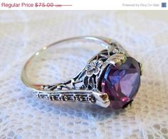 HOLIDAY SALE Gorgeous Alexandrite Filigree Engagement Ring, Sterling Silver Flower Motif Vintage Art Deco Style, SIZE 7