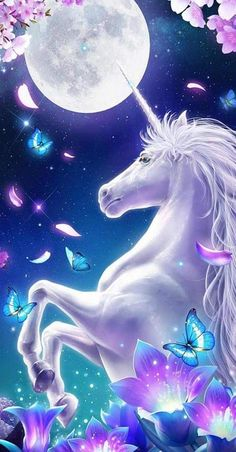 Is the Unicorn reacting to the moon? Are the falling flower petals and butterflies reacting to the rearing unicorn? Unicorn And Fairies, Unicorn Fantasy, Unicorn Horse, Unicorns And Mermaids, Unicorn Art, Cute Unicorn, Unicorn Images, Unicorn Pictures, Pictures Of Unicorns