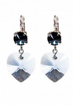 The coolest dark blue Montana Swarovski earring with Sapphire Swarovksi heart. Looks divine paired with a sheer blouse and a dark denim overall www.scmyk.nl