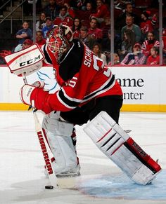 NEWARK, NJ - FEBRUARY 06: Cory Schneider #35 of the New Jersey Devils clears the puck in the third period against the Washington Capitals on February 6, 2016 at Prudential Center in Newark, New Jersey.The Washington Capitals defeated the New Jersey Devils 3-2 in an overtime shootout. (Photo by Elsa/Getty Images)