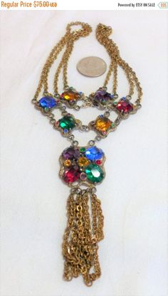 sale 15% Vintage Necklace Double Strand Gold Tone Rhinestones