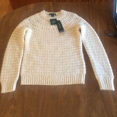 "New Ralph Lauren Alpaca Blend Sweater P/Small New cream colored,25% Alpaca,5% Wool,70% acrylic. Ralph Lauren Petite/Small. Armpit to armpit is 17""W.  From back of neckline to bottom of hemline is 23"" Excellent quality. BUNDLE DISCOUNT Ralph Lauren Sweaters Crew & Scoop Necks"
