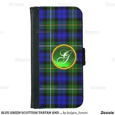 BLUE GREEN SCOTTISH TARTAN AND GEM STONE MONOGRAM iPhone 6 WALLET CASE