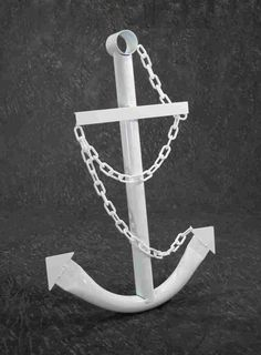 White Anchor Wall Yard Art Decor 3 Metal Nautical Navy Outdoor Decorative New - White Metal Art - Ideas of White Metal Art