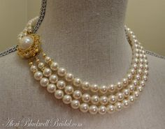 White and Gold Wedding. Bridal Pearl and Crystal Floral Statement Necklace. Swarovski Bridal Pearl Necklace Set Ivory and Gold vintage style by AlexiBlackwellBridal, $89.00
