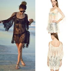 Vintage Plus Size Women's Dresses Transparent Boho Hippie Embroidery Lace Handmade Crochet Dress Beach Party Prom Dress Tops by OnAnOutlet on Etsy