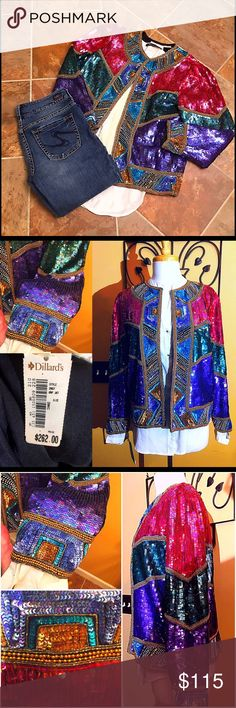 NWT 80's Sequined Trophy Jacket Jew Tones NWT 80's Sequined Trophy Jacket Rich Jewel Tones.  Perfect Condition Never Been Worn. Fuchsia, Cobalt Blue, Rich Emerald Green.  Chic to Wear With Your Favorite Jeans, White Tee, Cute Boots, and Layered Chains. Fabric Silk & Rayon. Single Top Hook Closure. Slightly Oversized M - ML. Lawrence Kazar Jackets & Coats