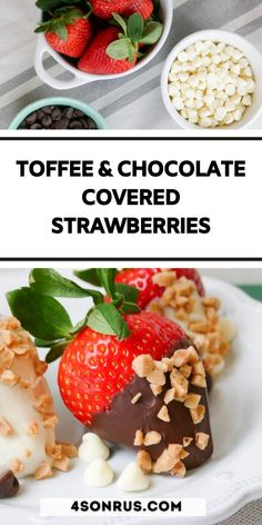 Toffee and chocolate covered strawberries are a fun twist on a Valentine's Day classic. The toffee crunch and the smooth silky chocolate compliment the juicy, sweet strawberries perfectly!