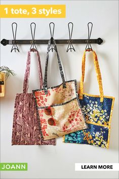 Try this tote bag pattern 3 ways! Change the pocket size or add a contrasting trim to make it feel custom to you. Make it sturdy with our wide selection of stylish home decor fabrics. Small Sewing Projects, Sewing Projects For Beginners, Sewing For Kids, Sewing Hacks, Sewing Tutorials, Fabric Bags, Fabric Purses, Sewing Class, Quilted Bag