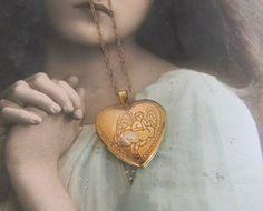 Vintage Gold Filled Heart Locket Necklace, Cherub Locket, Cupid Locket, Sweetheart Locket, Angel on Cloud Locket, Romantic Locket Necklace