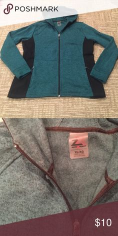 SALE🎉ZIP UP HOODIE New without tags hoodie perfect condition zips up has two front pockets and side black panels for a slimming look color is a blue green. smoke free home fast shipping follow me for deals Jackets & Coats