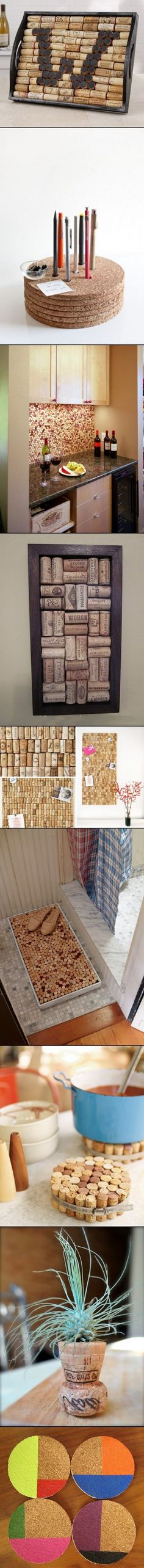 DIY Functional Crafts Of Cork **I love the wine wall! Doubles as a cork board. Wine Craft, Wine Cork Crafts, Wine Bottle Crafts, Wine Bottles, Wine Cork Projects, Cool Diy Projects, Craft Projects, Diy Cork, Cork Art